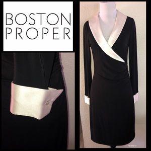 BOSTON PROPER Tuxedo Wrap Dress sz 6